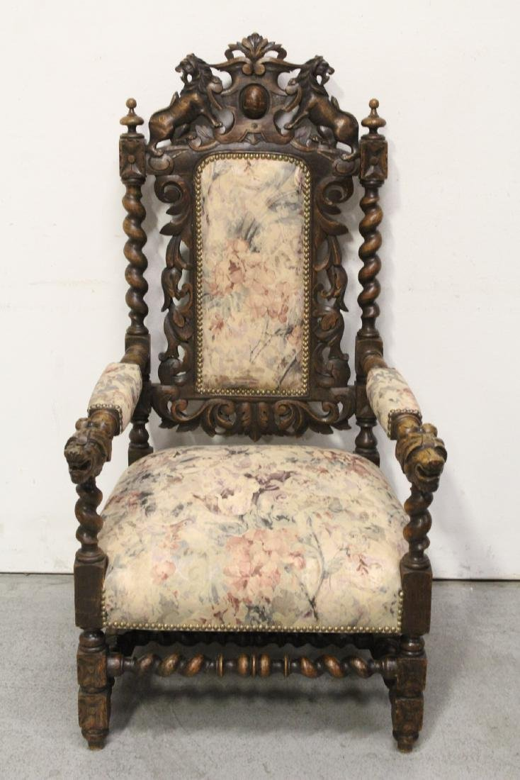 Pair European 19th century oak armchairs - 7