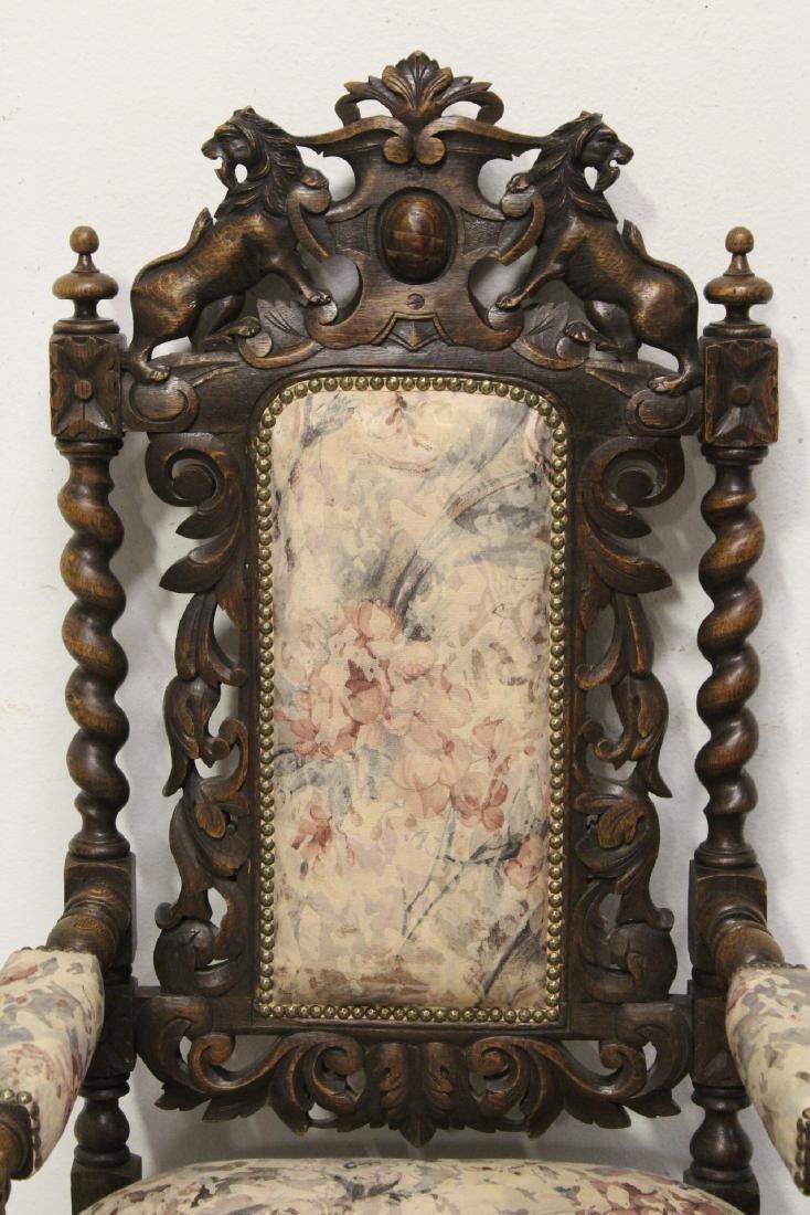 Pair European 19th century oak armchairs - 8