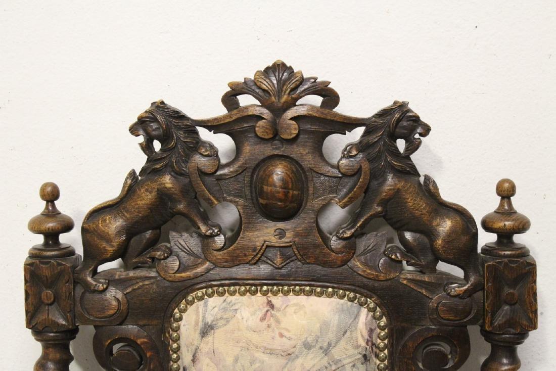 Pair European 19th century oak armchairs - 9