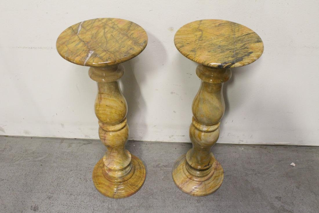 Pair French marble pedestals - 2