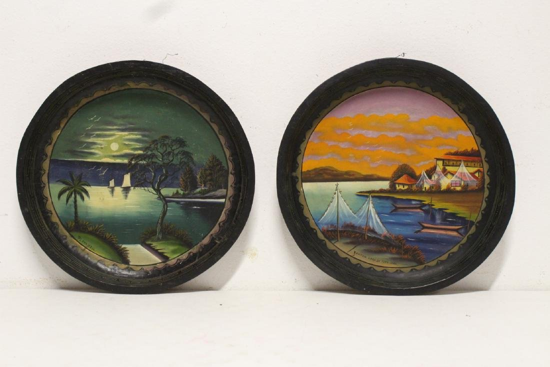 2 South American oil on wood plates