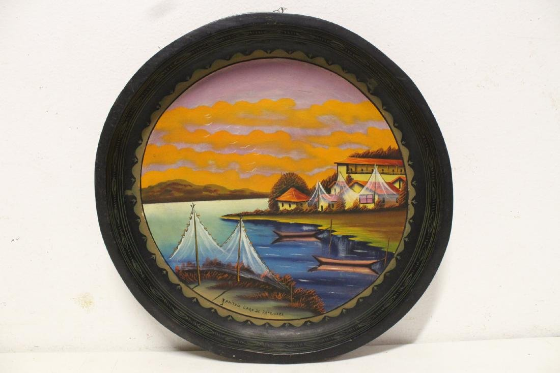 2 South American oil on wood plates - 2