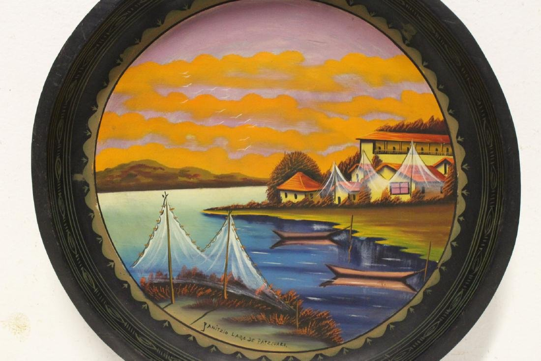 2 South American oil on wood plates - 3