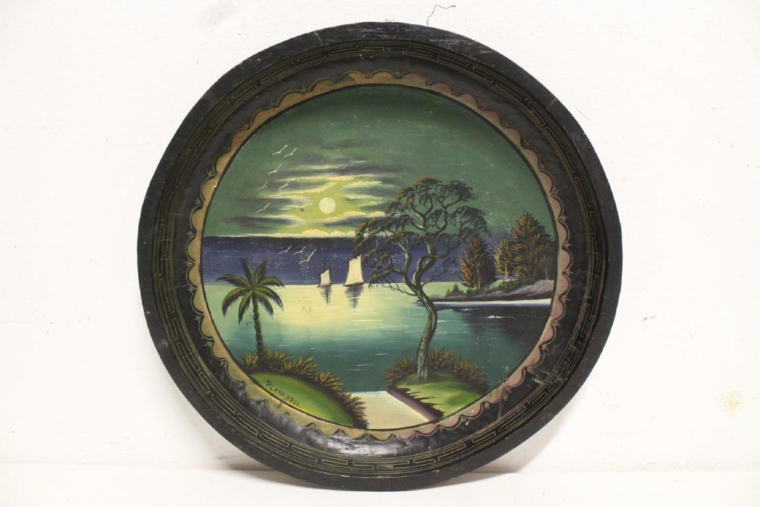 2 South American oil on wood plates - 7