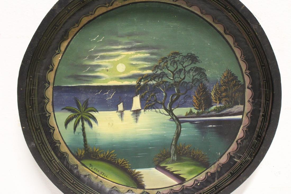 2 South American oil on wood plates - 8