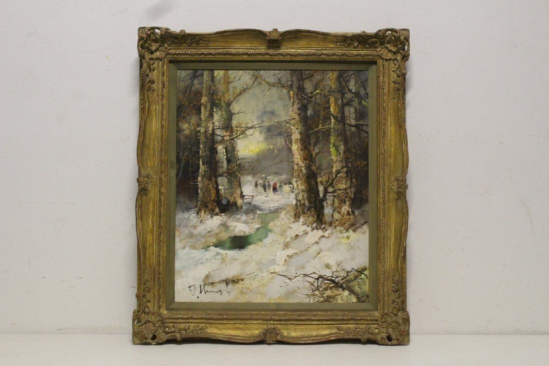 "Oil on canvas ""winter rural scene"", signed"
