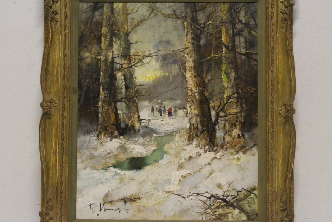 "Oil on canvas ""winter rural scene"", signed - 2"