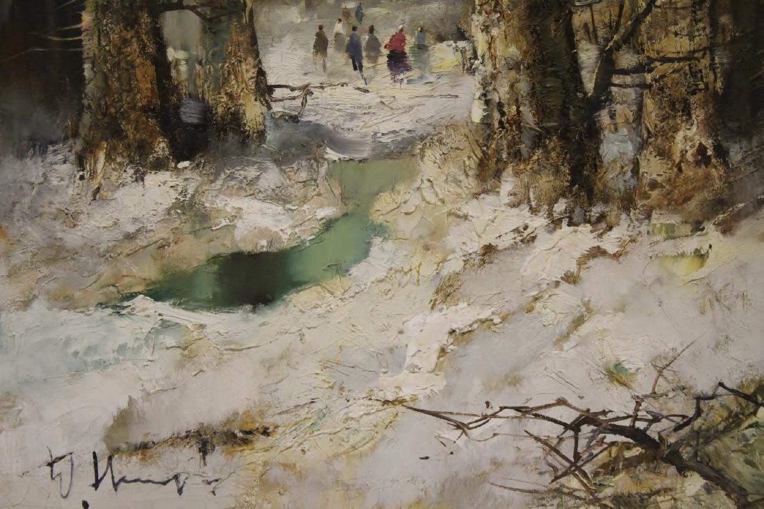 "Oil on canvas ""winter rural scene"", signed - 3"
