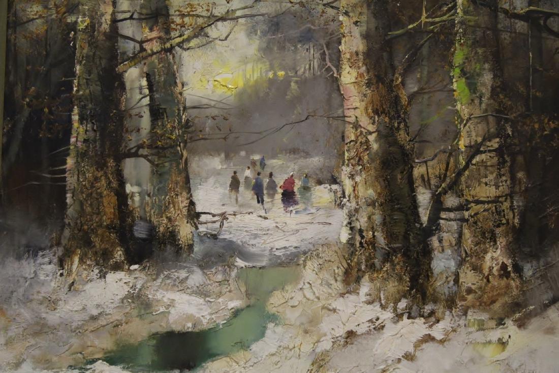 "Oil on canvas ""winter rural scene"", signed - 4"