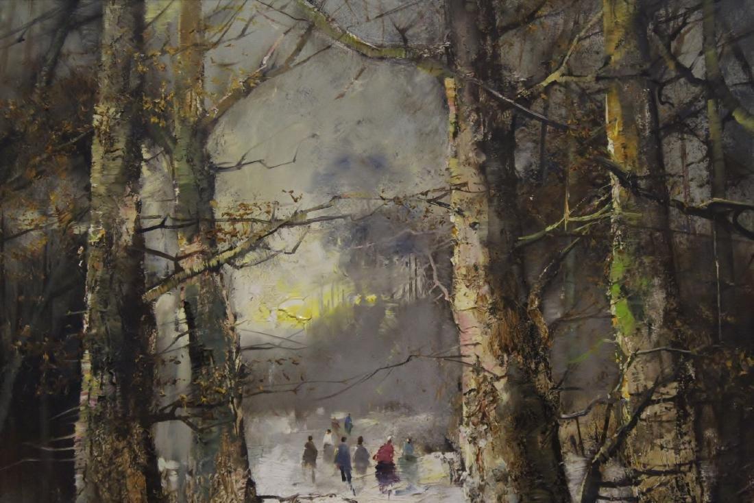 "Oil on canvas ""winter rural scene"", signed - 5"