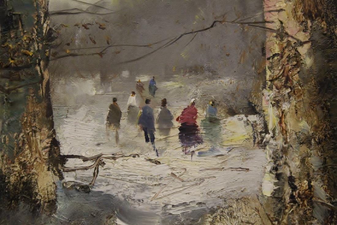 "Oil on canvas ""winter rural scene"", signed - 6"