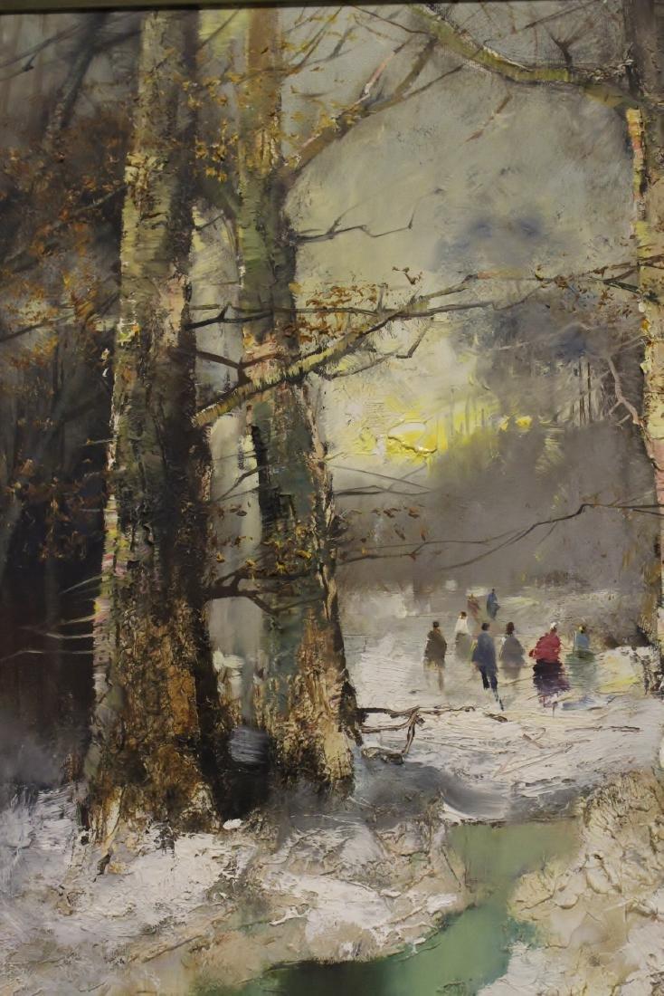 "Oil on canvas ""winter rural scene"", signed - 8"
