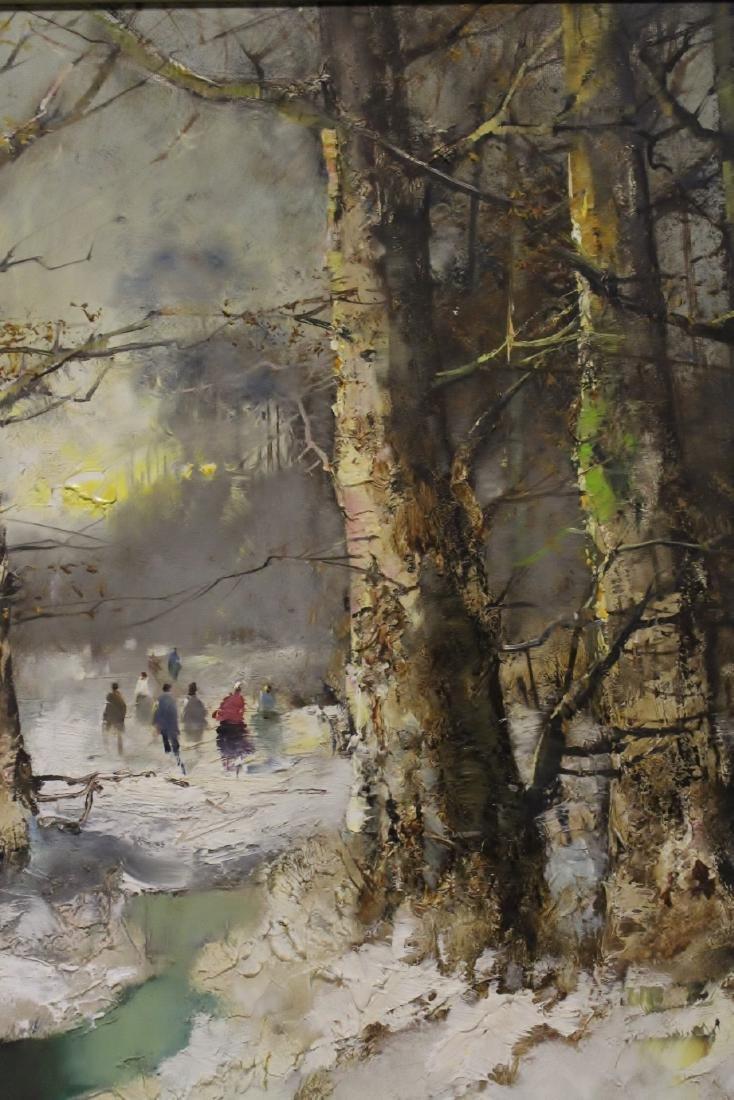 "Oil on canvas ""winter rural scene"", signed - 9"