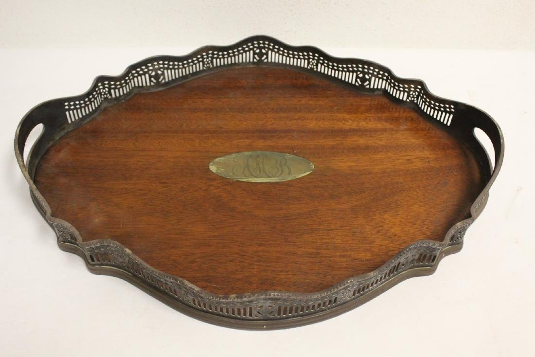 Victorian silverplate and wood serving tray