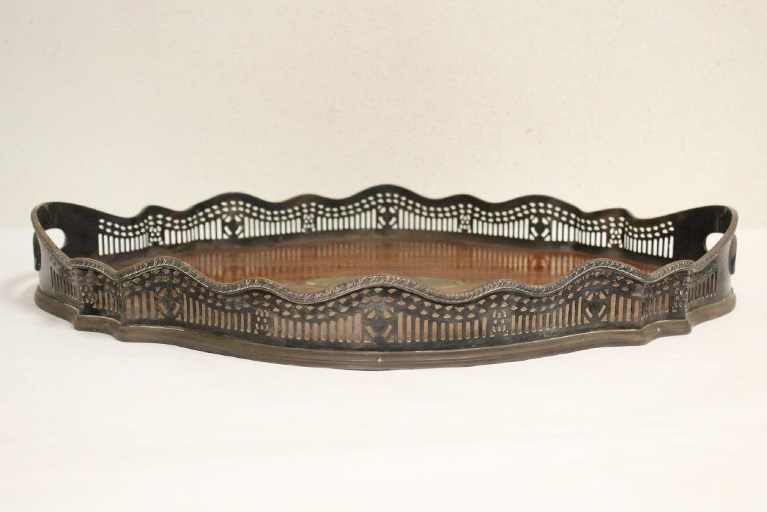 Victorian silverplate and wood serving tray - 2