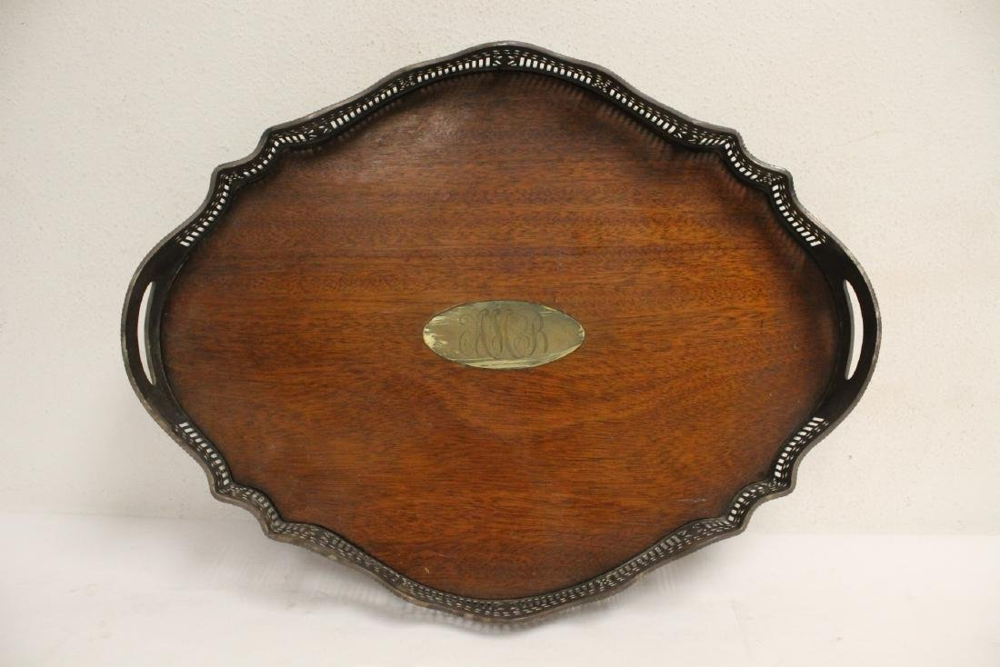 Victorian silverplate and wood serving tray - 6