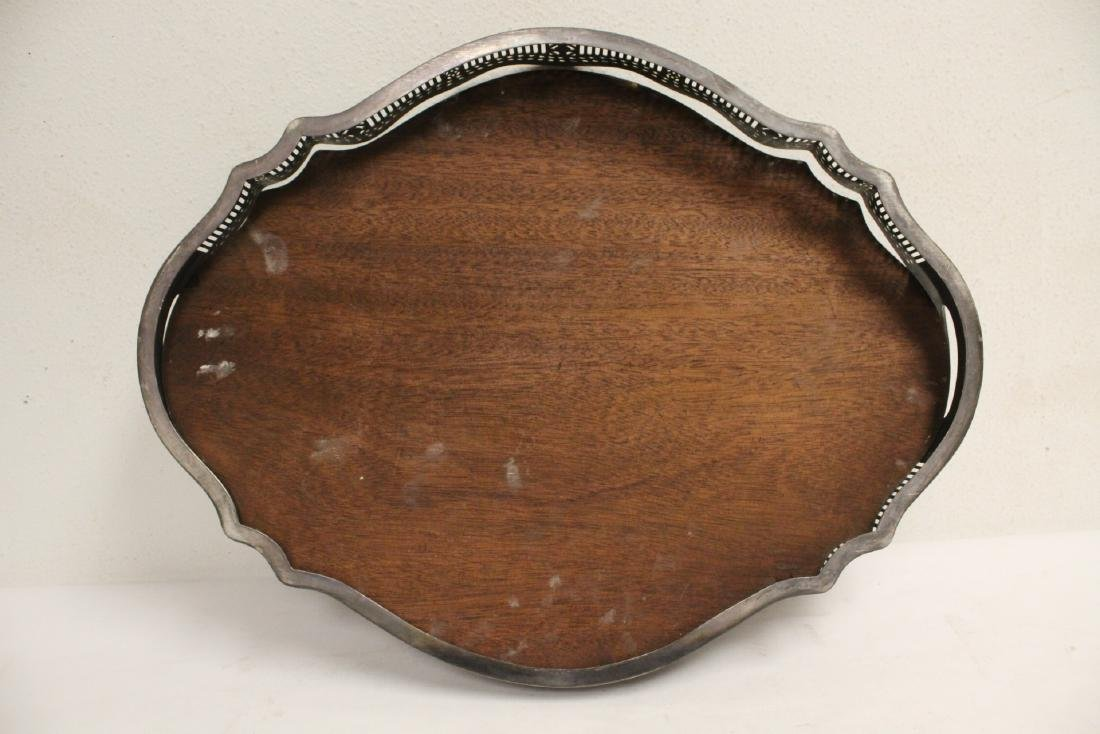 Victorian silverplate and wood serving tray - 8