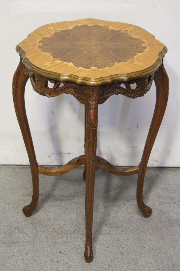 2 beautiful inlaid round tables - 10