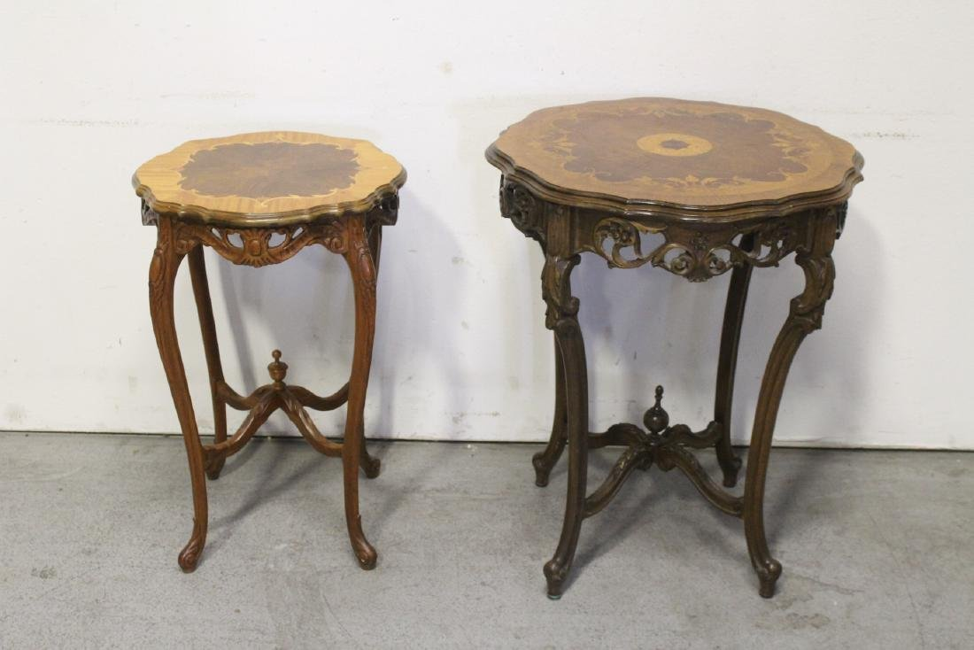 2 beautiful inlaid round tables
