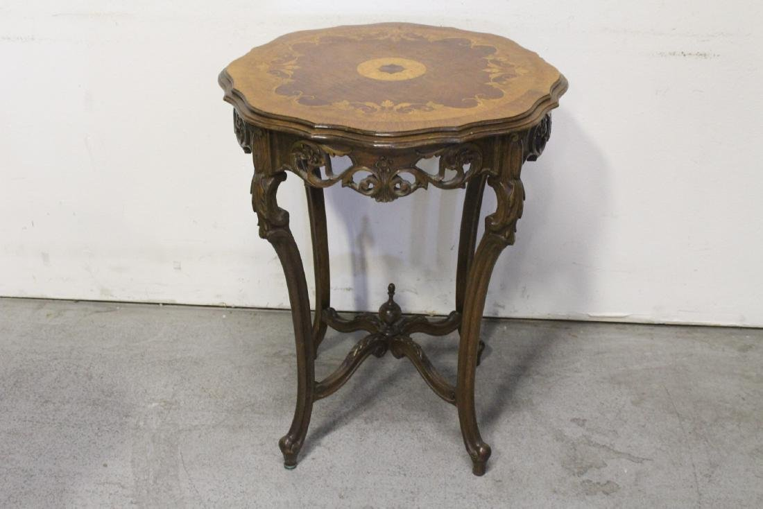 2 beautiful inlaid round tables - 2