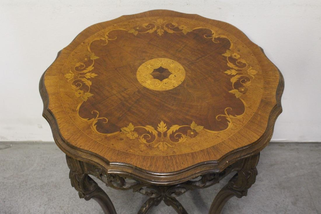 2 beautiful inlaid round tables - 3
