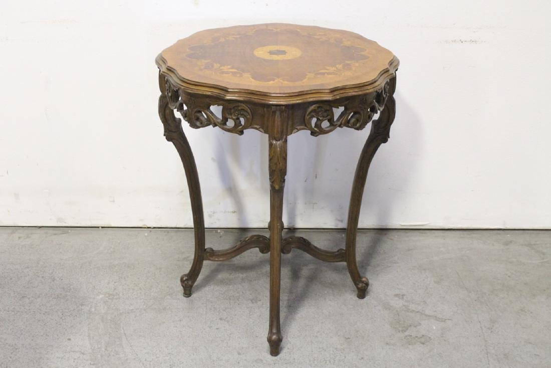 2 beautiful inlaid round tables - 4