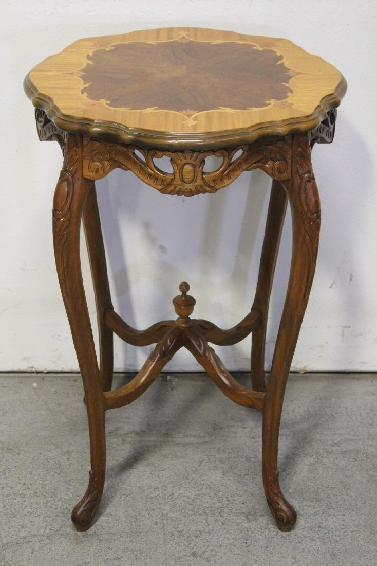 2 beautiful inlaid round tables - 7
