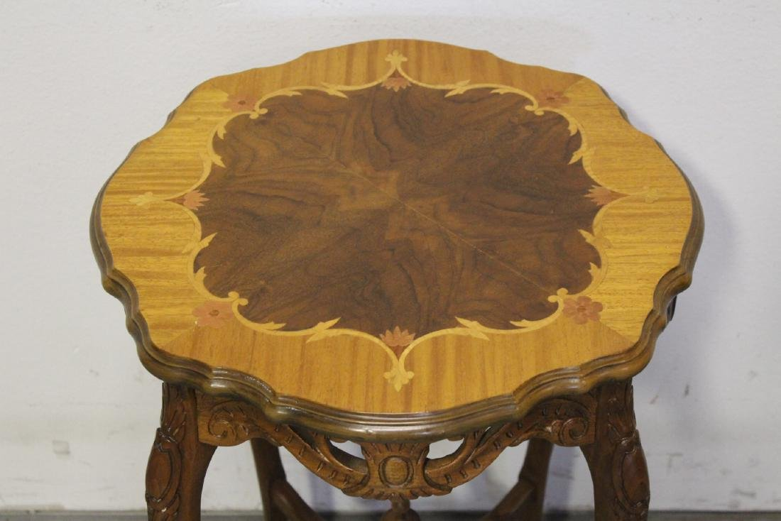 2 beautiful inlaid round tables - 9