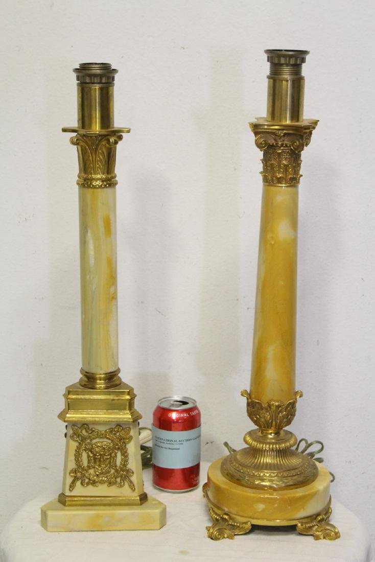 2 French onyx table lamps with bronze ormolu