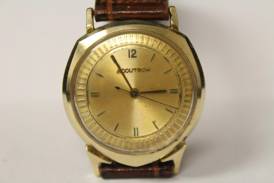 A 14K Y/G Bulova Accutron wrist watch