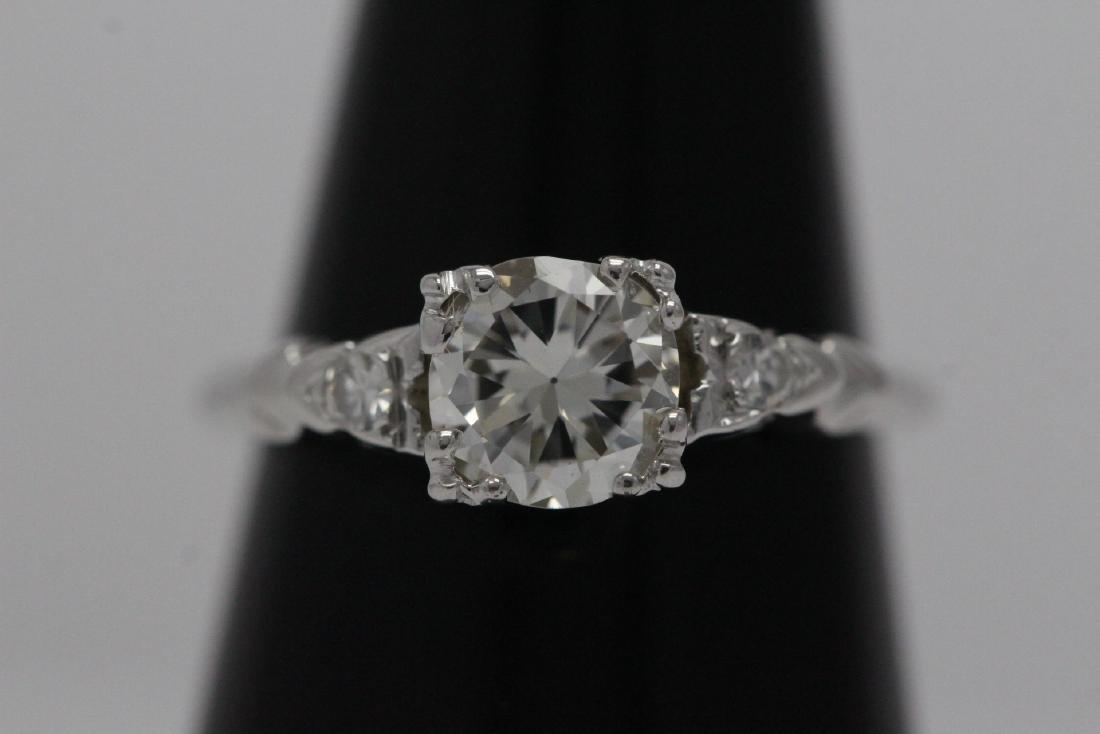 Art deco 14K W/G diamond ring with GIA certificate