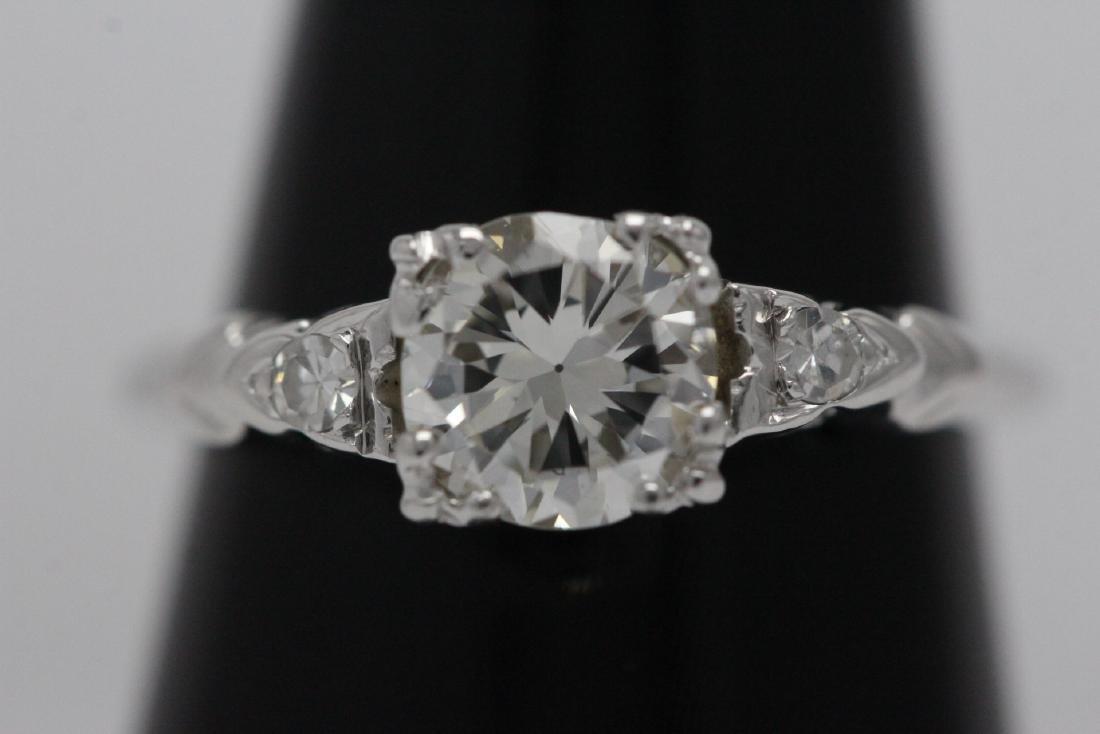 Art deco 14K W/G diamond ring with GIA certificate - 2