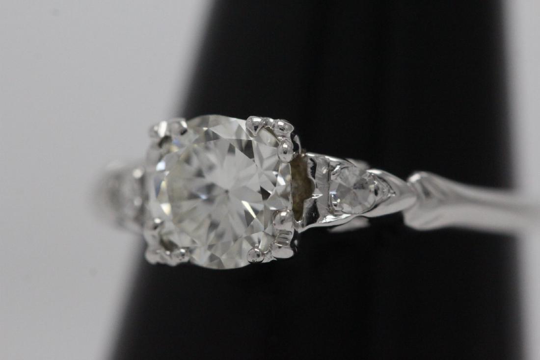 Art deco 14K W/G diamond ring with GIA certificate - 3