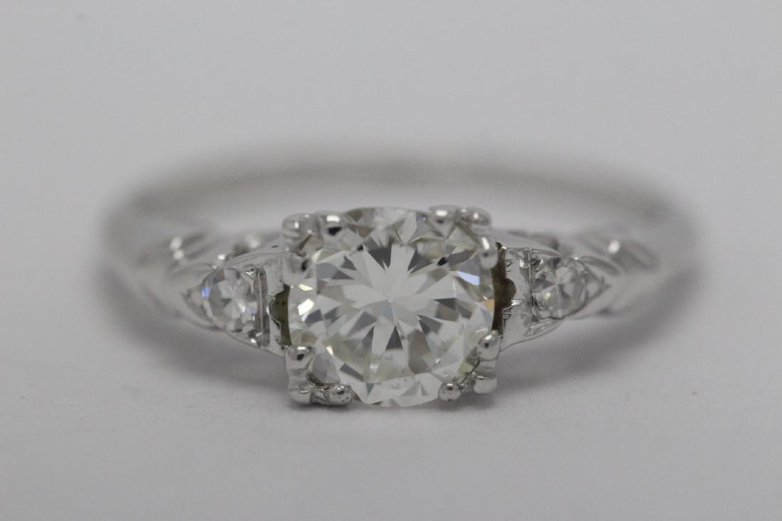 Art deco 14K W/G diamond ring with GIA certificate - 5