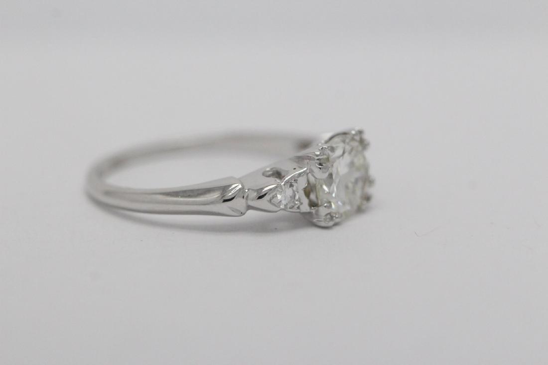 Art deco 14K W/G diamond ring with GIA certificate - 7