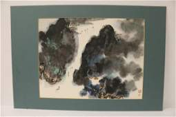Chinese framed watercolor, artist chop mark