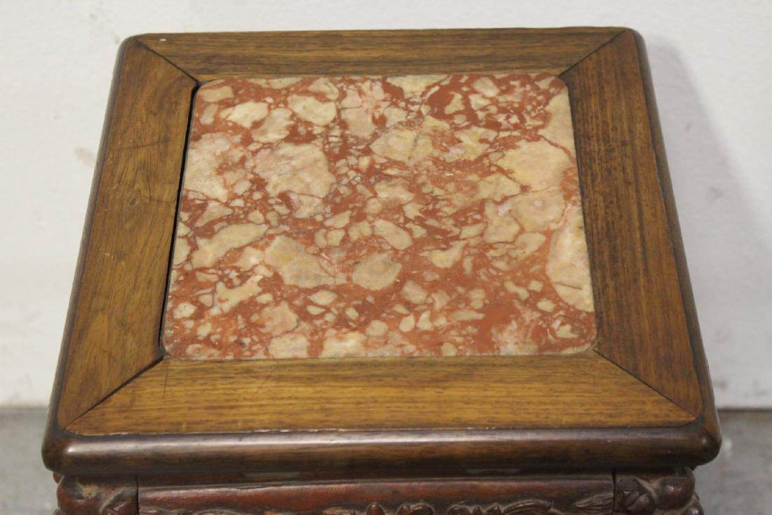 Chinese marble top rosewood pedestal table - 10