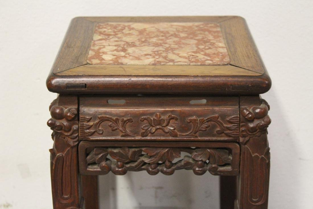 Chinese marble top rosewood pedestal table - 2