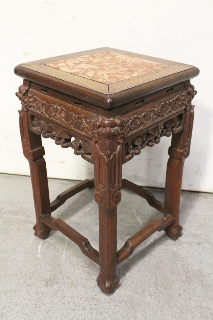 Chinese marble top rosewood pedestal table - 4