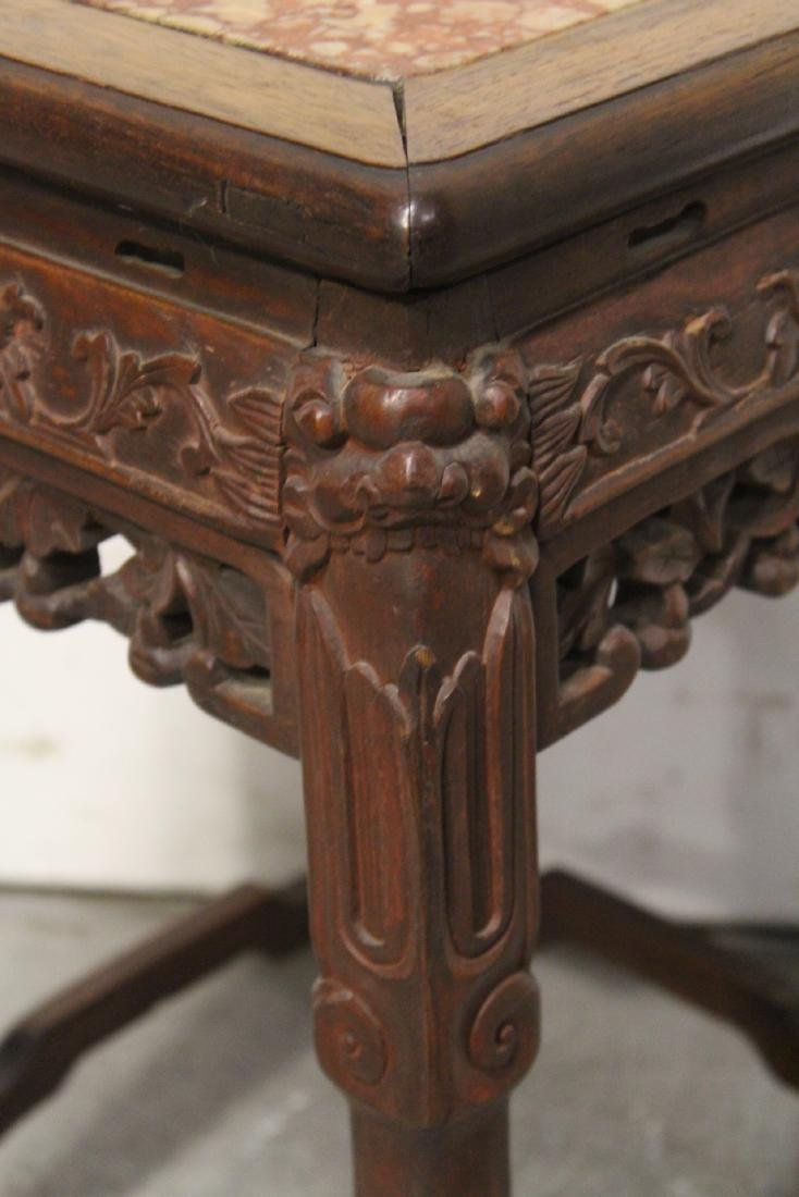 Chinese marble top rosewood pedestal table - 5