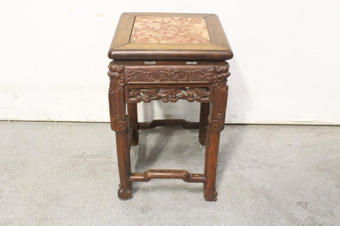 Chinese marble top rosewood pedestal table - 6