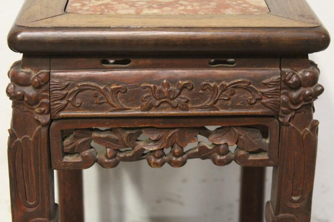 Chinese marble top rosewood pedestal table - 7