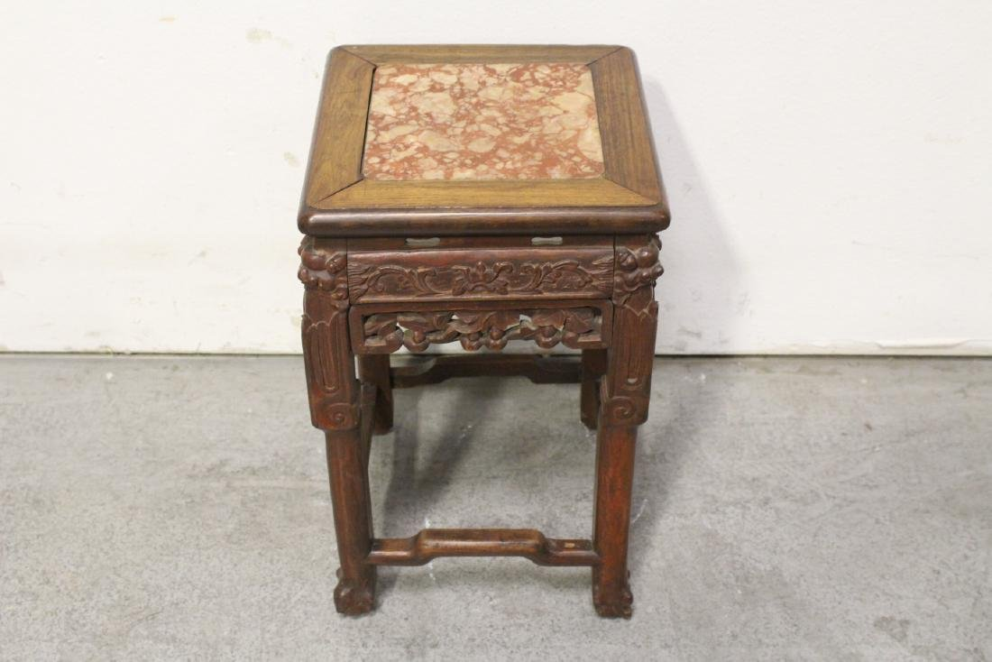Chinese marble top rosewood pedestal table - 9