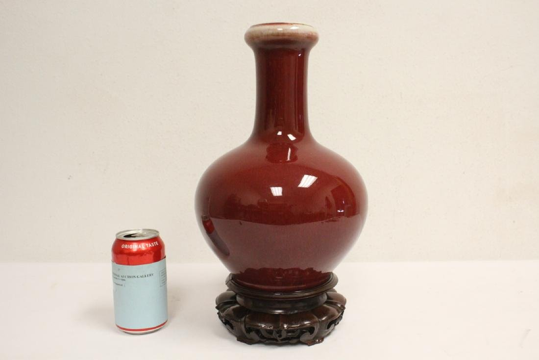 Chinese antique red glazed bottle vase with stand