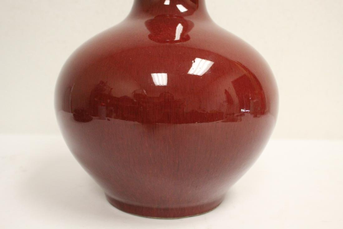 Chinese antique red glazed bottle vase with stand - 7