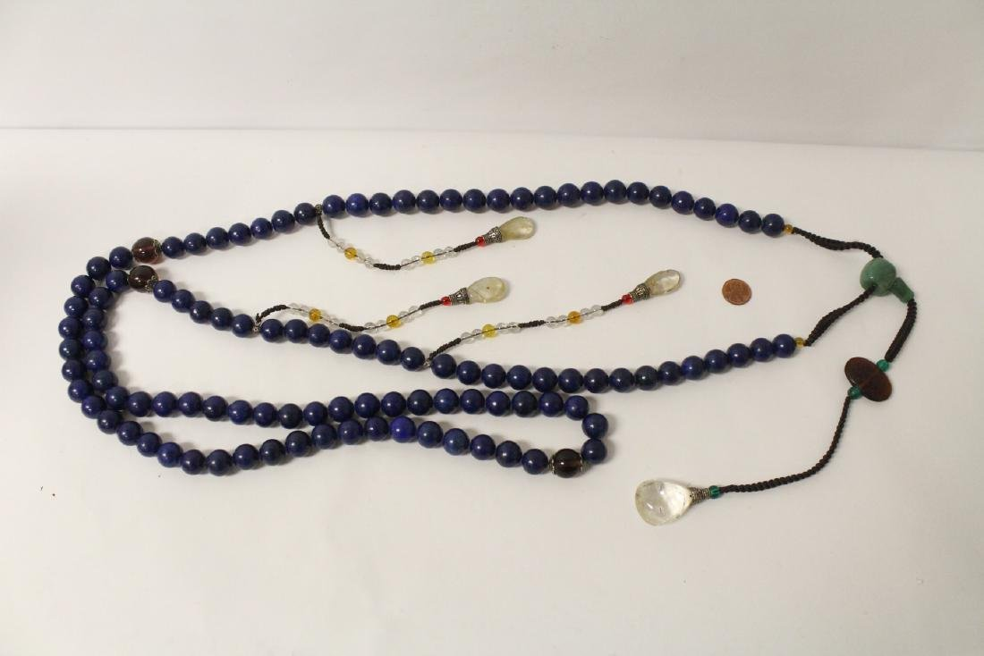 Chinese lapis bead necklace