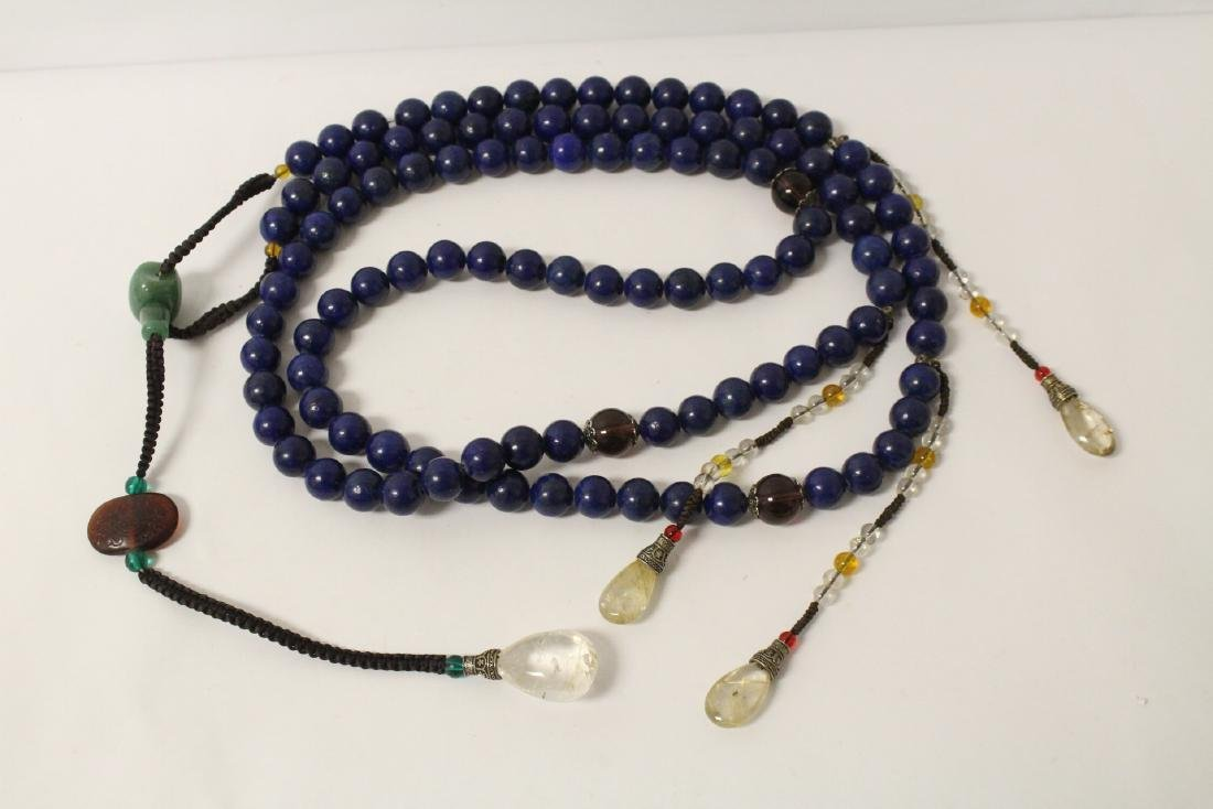 Chinese lapis bead necklace - 5