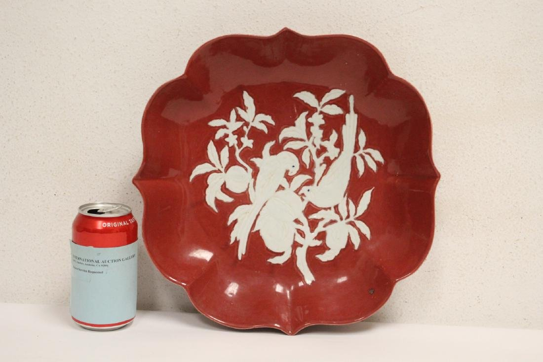 Chinese red on white porcelain charger
