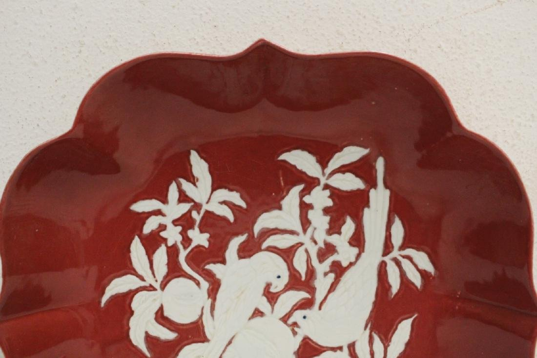 Chinese red on white porcelain charger - 2