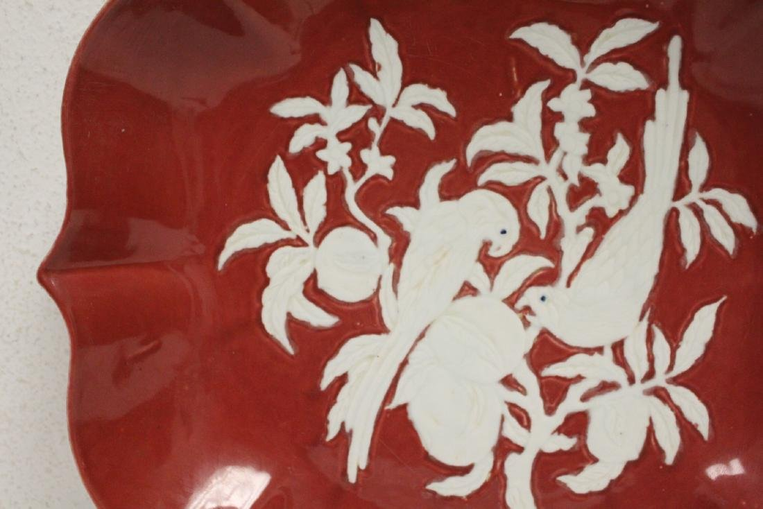Chinese red on white porcelain charger - 3
